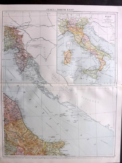 Gross 1920 Large Map. Italy - North East